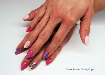 Manicure ombre efekt syrenki motylek salon medi spa