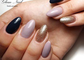Glam Nail - utwardzenie naturalnej płytki żelem + hybryda kolor